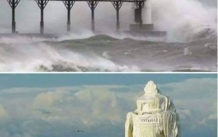 A lighthouse in Michigan, before and after major ice storm. : Kevin Povenz... 2