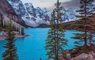 Moraine Lake is a glacially fed lake in Banff National Park, 14 kilometres (8.7 ... 6