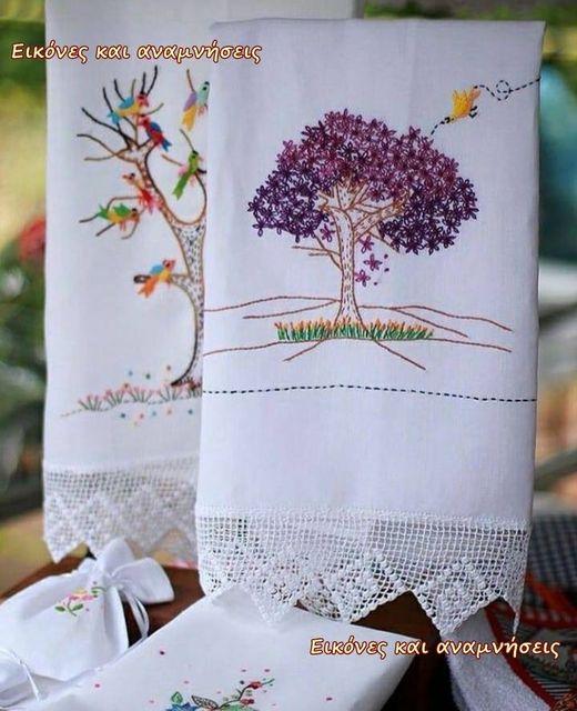 Τι πανέμορφες κεντημένες πετσέτες από παλιά ....... 1