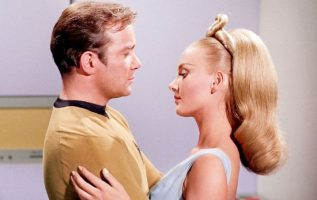 """William Shatner and Barbara Bouchet in the Star Trek Episode, """"By Any Other Name... 5"""