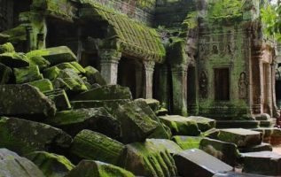 Nature consumes civilization.  Cambodia...