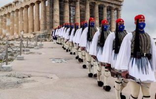 The Greek Presidential Guard at the Acropolis for the 200 Bicentennial Greek Fl...