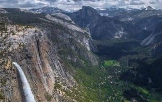 Upper Falls and Half Dome, Yosemite National Park, California, USA...