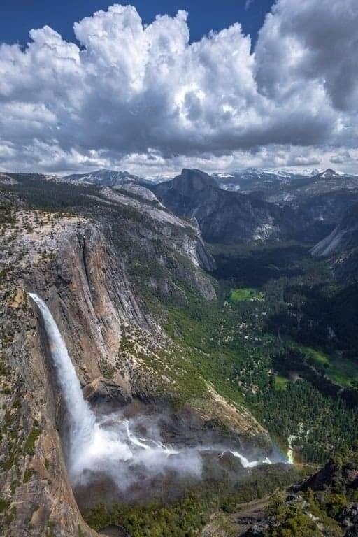 Upper Falls and Half Dome, Yosemite National Park, California, USA... 1