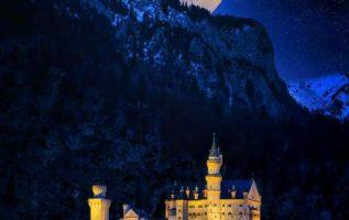 Full moon about Schwangau, Castle Neuschwanstein, Bavaria, Germany...
