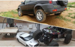 Having fun with a r/c toy car, into my laboratory and outdoors.