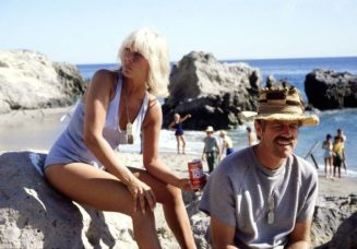 Loretta Swit and Mike Farrell behind the scenes of the MASH....