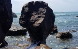 Waves have shaped this rock in Ensenada, Mexico...