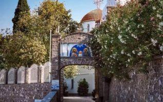 Η Ιερά Μονή του Αγίου Ραφαήλ  στον λόφο των Καρυών ή αλλιώς του Καλόγερου, η οπο...